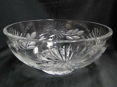 """Dresden Cut Crystal Round Bowl AS IS, with Flowers and Serrated Leaves, 8 3/8"""""""
