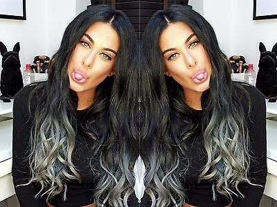 """20""""human Weave 100G #1B/grey Beautiful Indian Remy Weft Hair Uk Seller 5A Grade"""