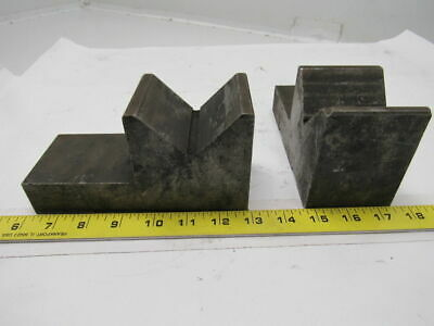 3-1/4L x3-1/2Tall x2-3/4W Cast Iron Machinist V Block W/Keyed Bottom Set of 2