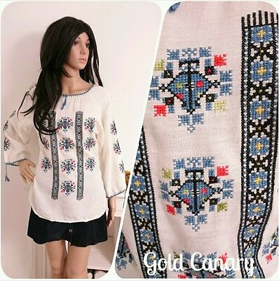 Vintage 70s Embroidered Blue Cheesecloth Top Tunic Boho Folk Hippy 8 10 36
