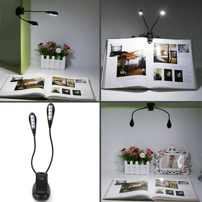 2 Arm 4 LED Piano Music Stand Light Flexible Clip-on Desk Lamp Home Table Light
