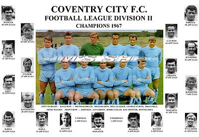 Coventry City F.c.1967 Division Ii League Champions Memorabilia