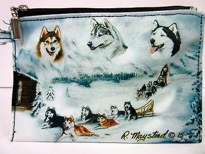 New Siberian Husky Dog Zippered Handy Pouch Ruth Maystead Coin Purse Huskey