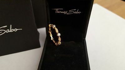 Thomas Sabo 14K Gold Plated Round And Marquise Shape Eternity Ring Size 60