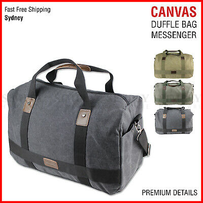 Canvas Duffle Bag Messenger Duffel Shoulder Vintage Sport Gym School Mens Travel