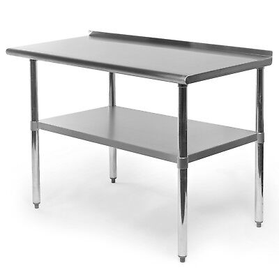 "Stainless Steel Kitchen Restaurant Prep Work Table with Backsplash - 24"" x 48"""