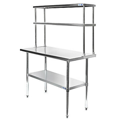 """Commercial Stainless Steel Kitchen Prep Table with Double Overshelf- 30"""" x 48"""""""