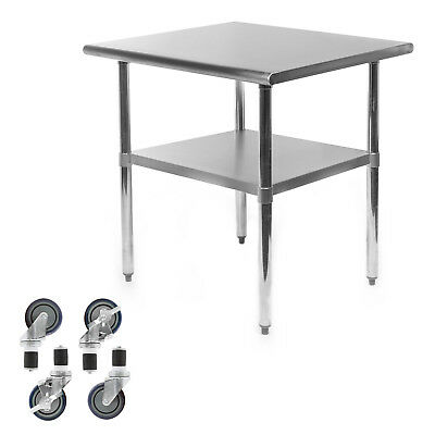 "Commercial Stainless Steel Kitchen Food Prep Work Table w/ 4 Casters - 24"" x 30"""