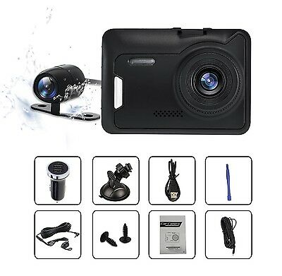 HD 1080P Dash Cam Front And Rear Dashboard Camera Dual Lens Stealth Vehicle C...