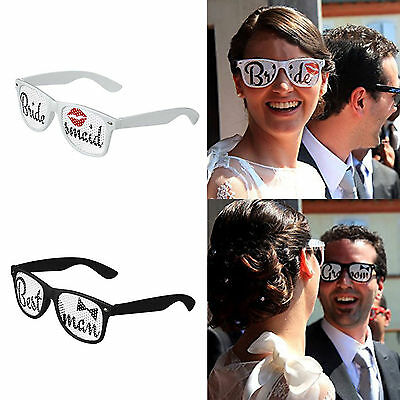 1X Bridesmaid Best Man Sunglasses Glasses White Black Hens Night Party Wedding