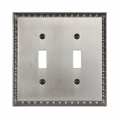 Amertac 90TTAN Egg & Dart Antique Nickel Cast Wall Plate, 2 Toggle