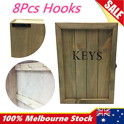 Vintage Wooden Timber Wall Keys Storage Holder Rack Hanger Organiser Hook
