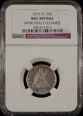 """1875 CC 20c UNC details Cleaned. NGC certified """"Hairlines"""""""