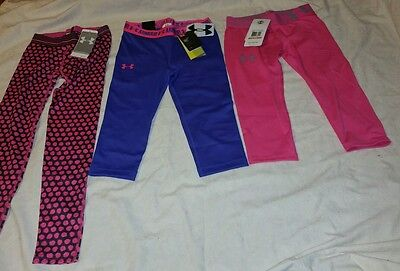 Girl's Under Armour Heat Gear Pants Tights Capri Leggings LOT Youth Small NWT