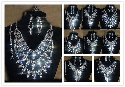 Silver Rhinestone Crystal Necklace Earrings Bracelet Ring Set For Wedding Bridal