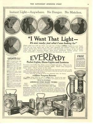 Eveready Pocket Lights, Home Lights and Lanterns - Original Advertisement - 1915
