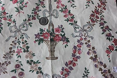French Antique Hand Blocked Flowers, Baskets & Bows Chintz Sample Fabric c1920