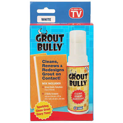 GROUT BULLY WHITE As Seen On TV Liquid Stain Removal Cleaner NEW Clean No Mess