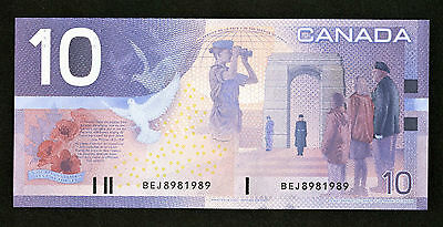 $10 Issue 2001 Bank Of Canada BC-63b-i Printed 2002 C-Unc Prefixed BEJ8981989