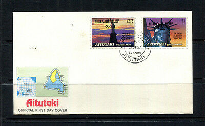 Aitutaki 1987 Fdc Cook Islands Liberty Usa Optd Hurricane Relief First Day Cover