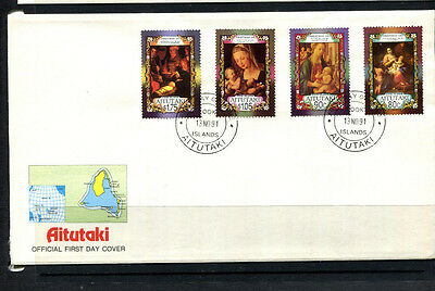 Aitutaki 1991 Fdc Cook Islands Xmas First Day Cover