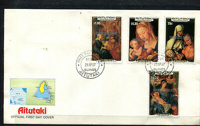 Aitutaki 1987 Fdc Cook Islands Xmas Stamps Optd Hurricane Relief First Day Cover