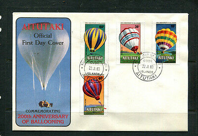 Aitutaki 1983 Fdc Cook Islands 200Th Anniversary Of Ballooning First Day Cover