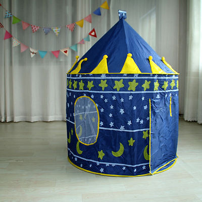 Blue Yurt Castle Tent Automatic Children Kids Indoor Outdoor Game Tent Playhouse