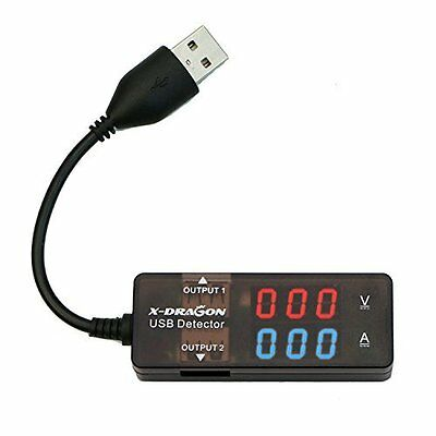 X-DRAGON Dual USB Digital Power Meter Tester Multimeter Current and Voltage Test
