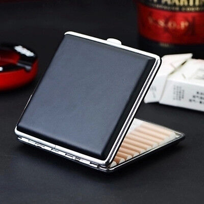 Man's Black Pocket Leather Metal Tobacco 20 Cigaret Cigarette Case Box Holder US