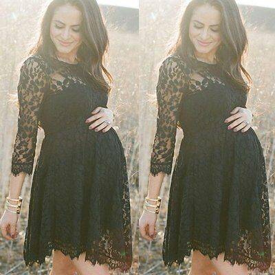 Pregnant Women Maternity Dresses Summer Casual Party Long Sleeve Lace Mini Dress
