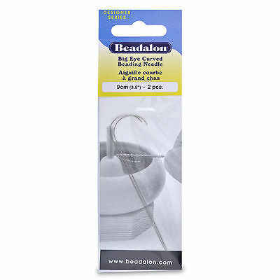 Beadalon Curved Big Eye Beading Needles Flexible - packet of 2