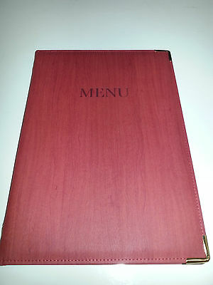 Qty 10 (ten) -- A4 P U MENU COVER IN RED WOOD EFFECT LOOK..fixed with gold chord