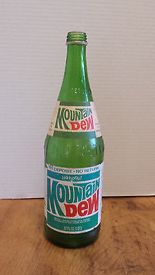 Vintage Mountain Dew 32 OZ Pop Soda bottle NO deposit Paper label Screw top