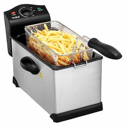 3L Litre Fusion Deep Fat Fryer Stainless Steel Professional Fish Chips Kitchen