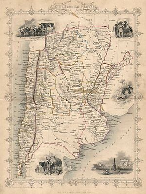"""CHILI AND LA PLATA"". Central Chile & Argentina. TALLIS/RAPKIN c1851 old map"