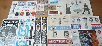 9x Manchester City, UEFA Cup Home Match Programmes, 1972-79.