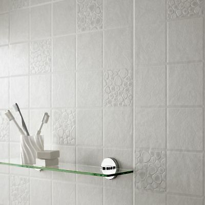 Contour Pebbles Tile Effect Kitchen Bathroom White/Grey Wallpaper