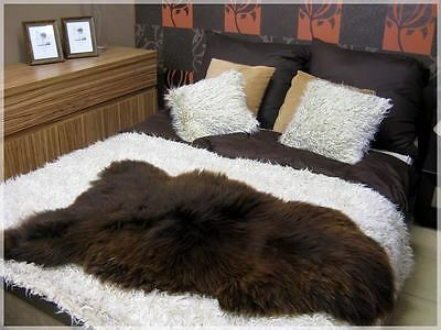 NATURAL BROWN Luxury SHEEPSKIN RUG XXXL! Undyed! Soft Thick Wool! Genuine!