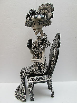 "CATRINA SITTING on CHAIR xl large      mexican folk art day of the dead 26"" tall"