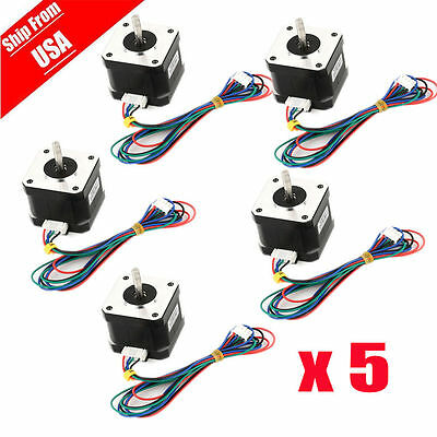 US Ship 5pcs OSM 65Ncm(92oz.in) Nema 17 Bipolar Stepper Motor 4-lead Hobby CNC H