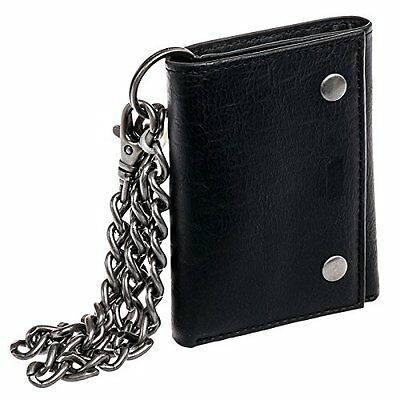 Levi's Genuine Leather Trifold Id Credit Card Chain Wallet Black 31Lv1188