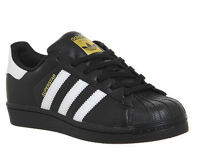 Womens Adidas Superstar  BLACK WHITE FOUNDATION Trainers Shoes