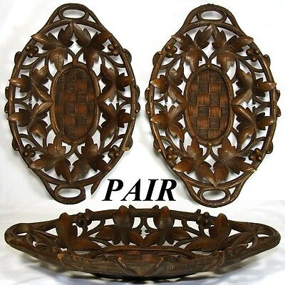 PAIR Antique Black Forest Carved Bread or Fruit Baskets, Trays, Ornate Foliage