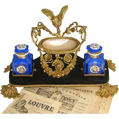 """Antique French 13.5"""" Dore Gilt Bronze, Marble & Mother of Pearl Double Inkwell"""