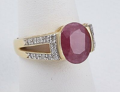$2050 Ladies 14KT Yellow Gold 0.24Ct Diamonds 3.57Ct RUBY ring size6.5
