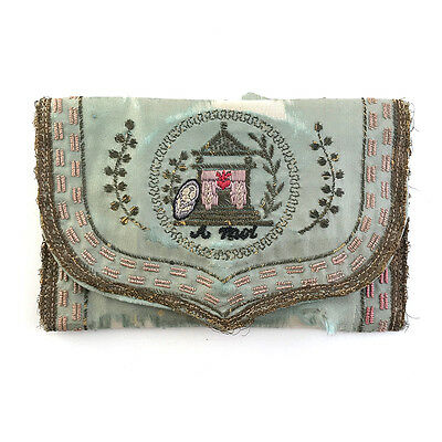 Antique French Embroidered Silk Love Token Pocketbook Purse Wallet, 19th C.