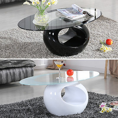 BN Modern Design Black/White Glass Oval Coffee Table Contemporary Living Room