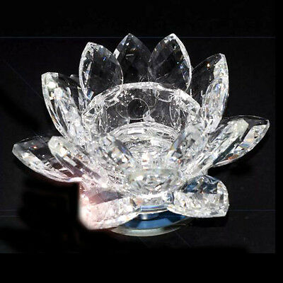 Crystal Glass Lotus Flower Candle Tea Light Holder Spin System & Gift Box UK