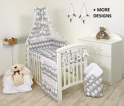 ELEPHANT GREY-YELLOW BABY BEDDING SET COT COT BED - COVERs, BUMPER, CANOPY+MORE